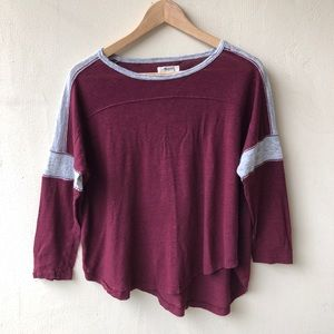 Madewell red maroon gray football linen top M